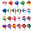Languige bubble with flags — Image vectorielle