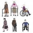 Stock Vector: Old people and disabled persons