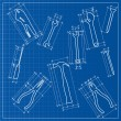 Tools blueprint sketch — Stock Vector