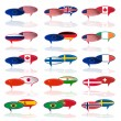 Set of  languige bubble with flags — Image vectorielle