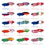 set di languige bolla con bandiere — Vettoriale Stock