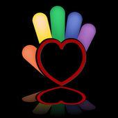Ruka srdce — Stock vektor
