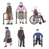 Old people and disabled persons — Stock Vector