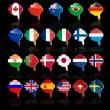 bolla di lingua con bandiere — Vettoriale Stock