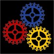 Peoples gears turn in unison, symbolizing teamwork and synergy — Stock Vector