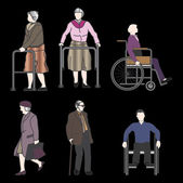 Old and disabled people — Stock Vector