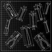 Tools backrgound sketch — Stock Vector