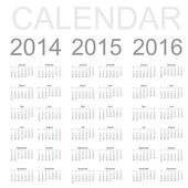 Simple Calendar year 2014, 2015, 2016, vector — Stock Vector