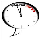 "Bubble Clock ""Time for review"" — Stock Vector"