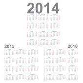 Simple Calendar year 2014, 2015, 2016 — Stock Vector