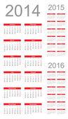 Simple Calendar year 2014, 2015, 2016, vector — Stock Vector