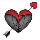 Corset heart with arrow — Stock Vector