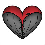 Corset with zipper red heart — Vector de stock