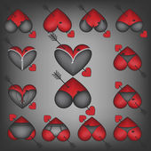 Heart symbols with lingerie — Stock Vector