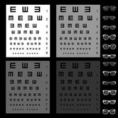 Eye test chart with glasses — Stock Vector