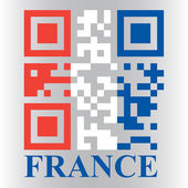 French QR code flag, vector — Stock Vector