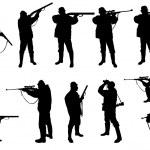 silhouettes de chasseurs — Vecteur