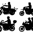 Motorcyclists silhouettes — Stock Vector