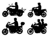Siluetas de los motociclistas — Vector de stock