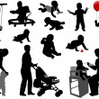 Vector de stock : Babies and toddlers silhouettes
