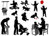 Babies and toddlers silhouettes — Vector de stock