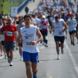 An unidentified man runs in 26th Belgrade Marathon on April 21, 2013 in Belgrade, Serbia — Stok fotoğraf