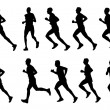 10 high quality marathon runners silhouettes — Stock Vector