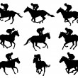 Racing horses and jockeys silhouettes — 图库矢量图片