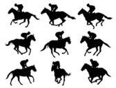 Racing horses and jockeys silhouettes — Stock Vector