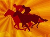 抽象的な背景に馬に乗って騎手 — ストックベクタ