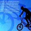 Stunt bicyclist on the abstract background — Векторная иллюстрация