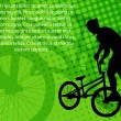 Stunt bicyclist on the abstract background — Imagens vectoriais em stock