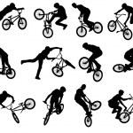 Постер, плакат: BMX stunt cyclist silhouettes