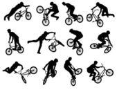 Bmx stunt wielrenner silhouetten — Stockvector