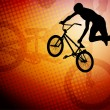 Stock Vector: Bmx cyclist on abstract background - vector