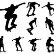 Skateboarders silhouettes — Stock Vector