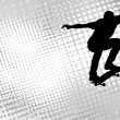 Skateboarder on the abstract halftone background — Stok Vektör
