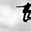 Skateboarder on the abstract halftone background — Imagen vectorial