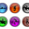Stock Vector: Glossy sport buttons