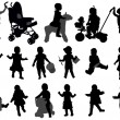 Toddler silhouettes collection — Stok Vektör
