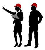 Ingeniero y el capataz trabajo siluetas — Vector de stock