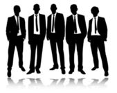 Group of businessmen standing and posing — Stock Vector