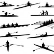 Rowing silhouettes — Stock Vector
