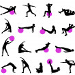 Silhouettes of women doing pilates — Vektorgrafik