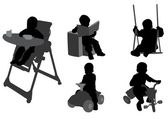 Toddlers silhouettes 3 — Stock Vector
