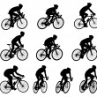 Stock Vector: 10 high quality race bicyclists silhouettes