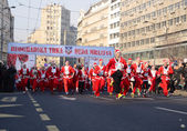 Unidentified participants of the sixth annual Belgrade Santas Race on Dec. 29, 2013 in Belgrade, Serbia — Photo