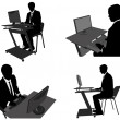 Stock Vector: Business mworking on his computer