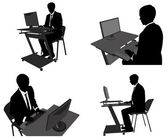 Business man working on his computer — Stock Vector