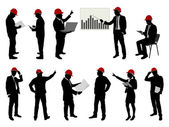 Engineers with hard hat silhouettes — Vector de stock